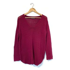 Wooden ships v-neck sweater cranberry red pullover